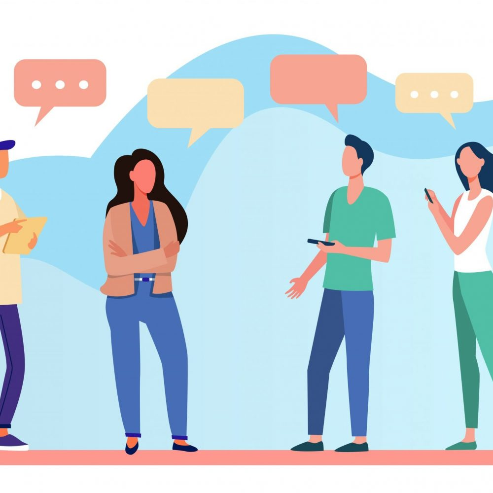 Young people standing and talking each other. Speech bubble, smartphone, girl flat vector illustration. Communication and discussion concept for banner, website design or landing web page